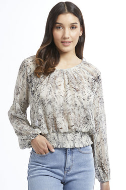 Melbourne Ivory Sketch Pleat Neck LS Top