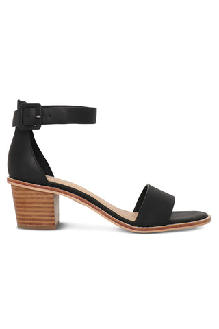 Mickee Black Leather Ankle Strap Heel