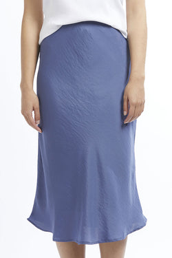 Milan Cornflower Blue Satin Bias Cut Midi Skirt