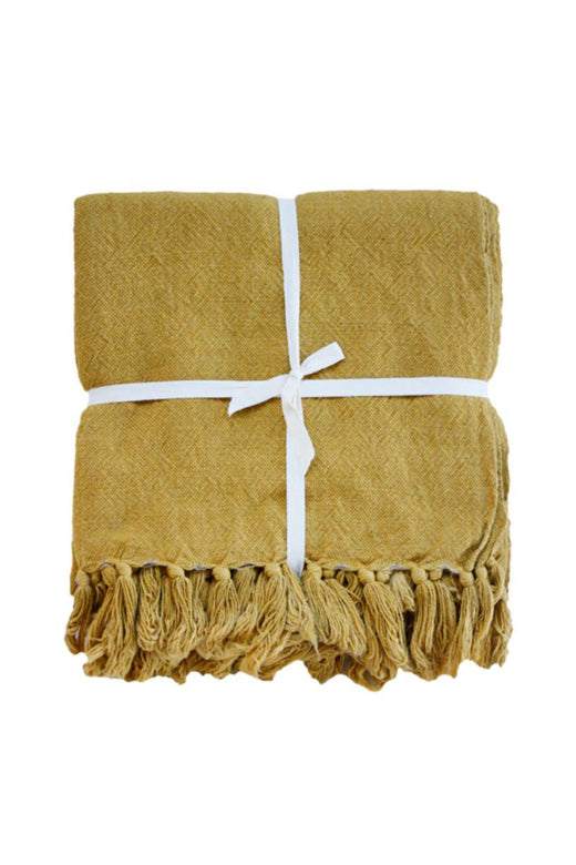 Indira Linen Cotton Blend Ochre Throw 130x190cm