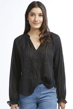 New Romantic Black Sheer Stripe LS Blouse