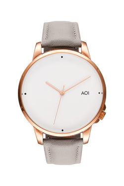Osaka Rose Gold with White Face 40mm Watch with Grey Leather Strap