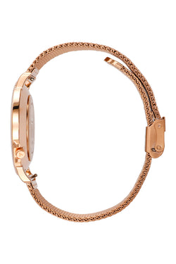 Osaka Rose Gold with White Face 40mm Watch with Rose Gold Mesh Steel Strap