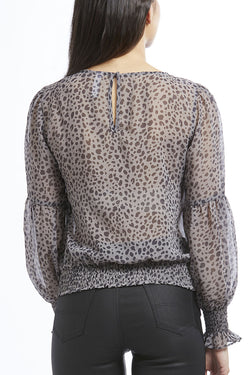 Parisian Shirred LS Taupe Animal Tie Top