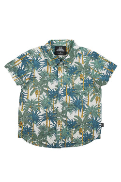 Kids Parker Palm SS Blue Shirt