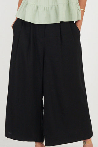 Pleat Front Black Wide Leg Pant