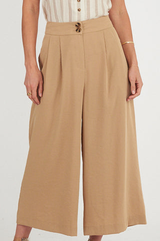 Pleat Front Camel Wide Leg Pant