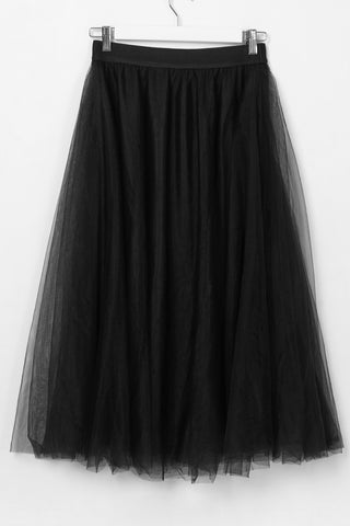Wonderland Black Mesh Layered Midi Skirt