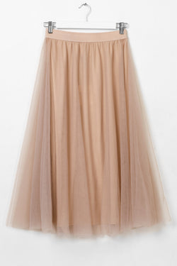 Wonderland Dusty Pink Mesh Layered Midi Skirt