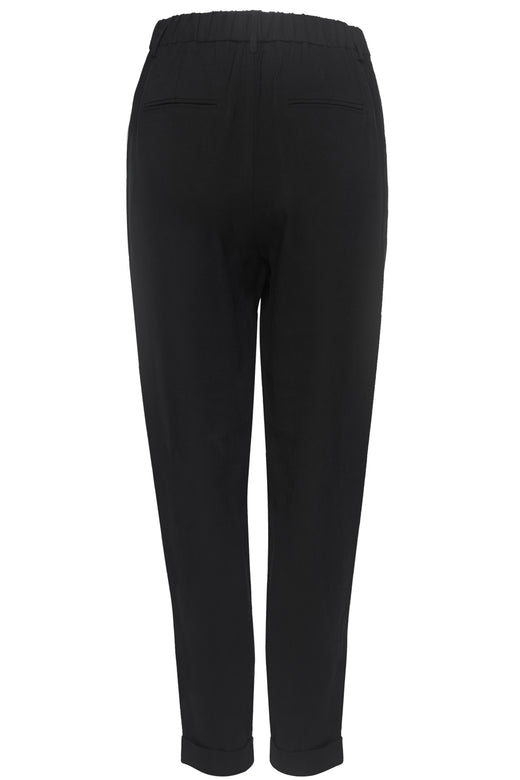 Essential Black Tapered Viscose Boyfriend Cuffed Pant