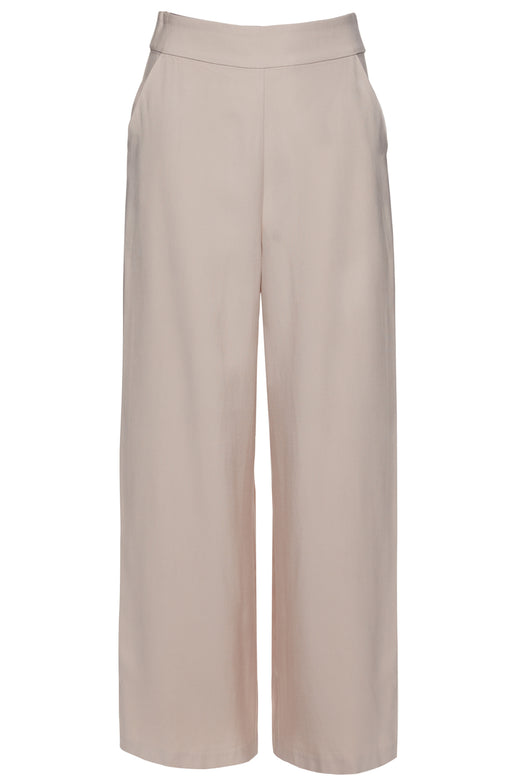 Effortless Flat Front Stone Viscose Wide Leg Pant