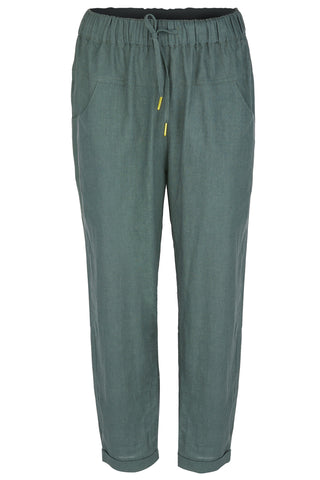 In Love Forest Linen Cropped Tapered Pant