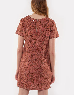 Roaming Leopard Print SS Rust Shift Dress