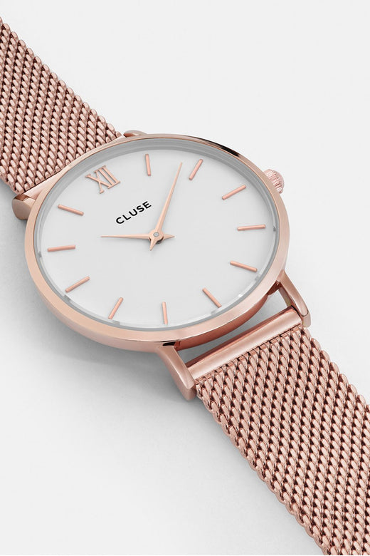 Minuit Mesh Rose Gold with White Watch