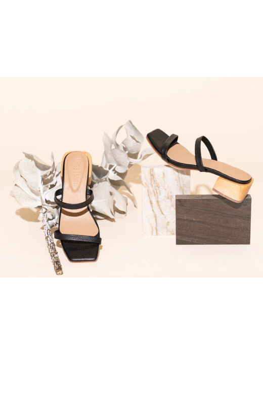 Salo Black Leather Strappy Sandal Heel