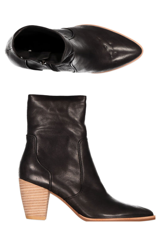 Seattle Slew Black Mid Leather Boot with Wooden Heel