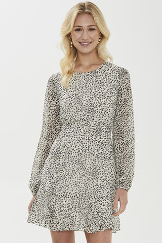 Serena LS Blouson Dotted White Mini Dress