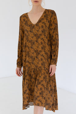 Sienna Drop Frill Midi LS Gold Print Dress