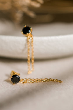 Miles Gold Dropper Chain Earrings with Black Garnet