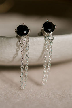 Miles Silver Dropper Chain Earrings with Black Garnet