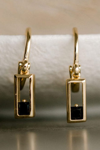 Realm Gold Square Sleeper Earring with Black Garnet