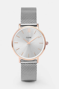 Minuit Silver Mesh Strap with Rose Gold Watch