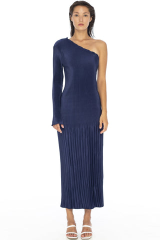 Soiree One Shoulder LS Pleated Navy Midi Dress
