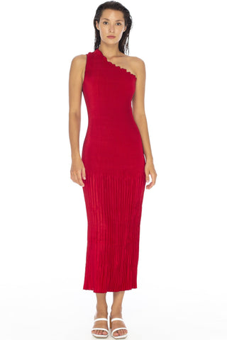 Soiree One Shoulder Pleated Rouge Midi Dress