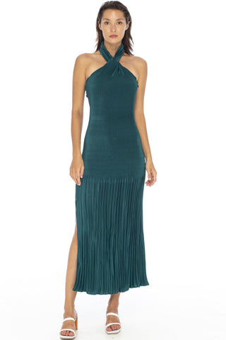 Soiree Halter Pleated Teal Midi Dress