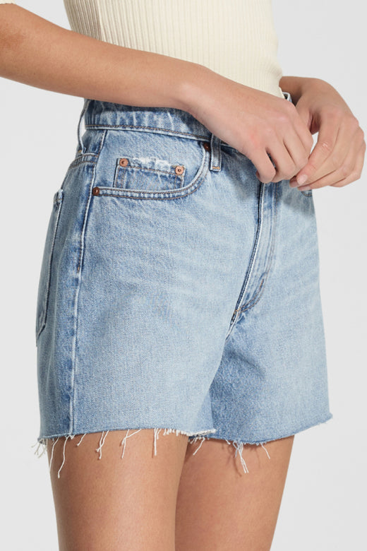 Stevie Ripple Mid Blue Raw Edge Denim Short