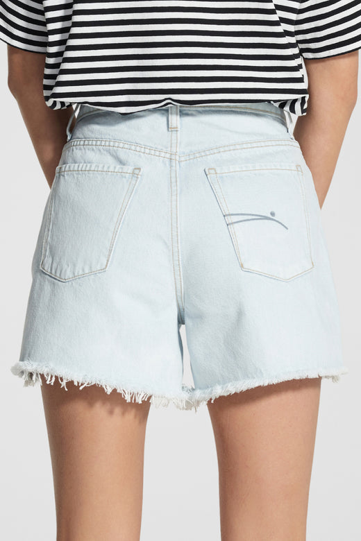 Stevie Glimmering Pale Blue Raw Edge Denim Short