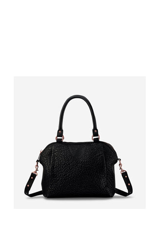 Force of Being Black Bubble Leather Handbag