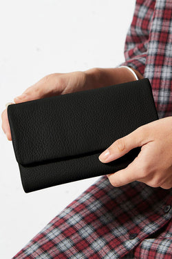 Audrey Foldover Black Pebble Leather Wallet