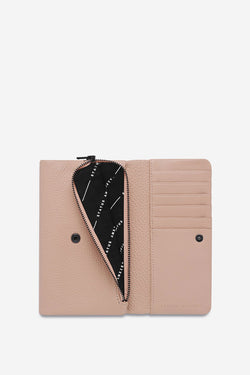 Audrey Folder Dusty Pink Pebble Leather Wallet