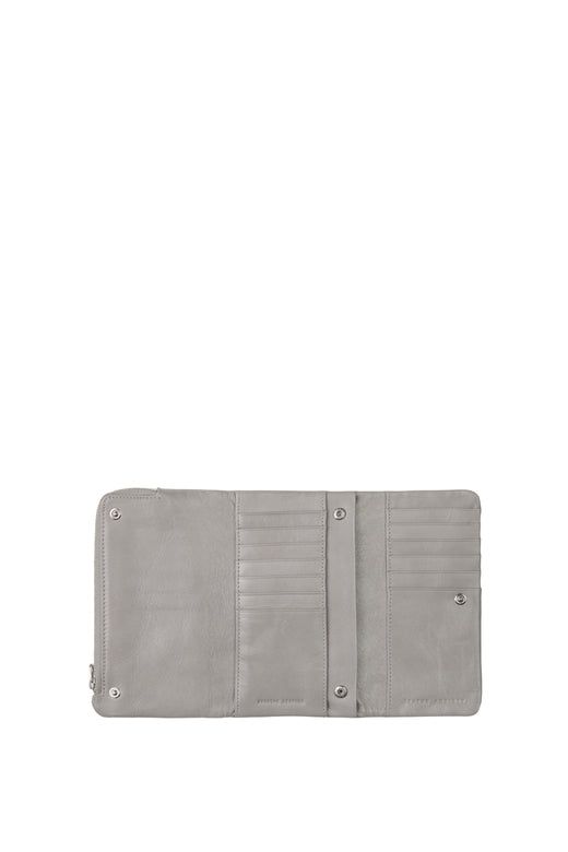 Audrey Foldover Grey Leather Wallet