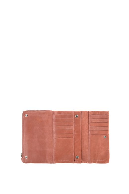 Audrey Foldover Pink Leather Wallet