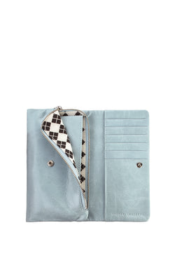 Audrey Foldover Sky Blue Leather Wallet