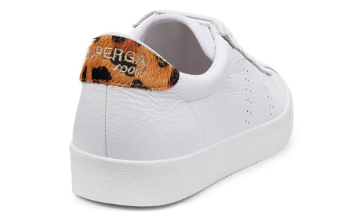 2843 CLUBS Comflea White with Leopard Trim Leather Sneaker