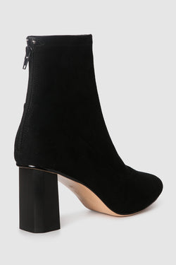 Tact Black Suede Stretch with Wooden Square Heel Boot