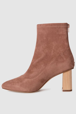 Tact Taupe Suede Stretch with Wooden Square Heel Boot