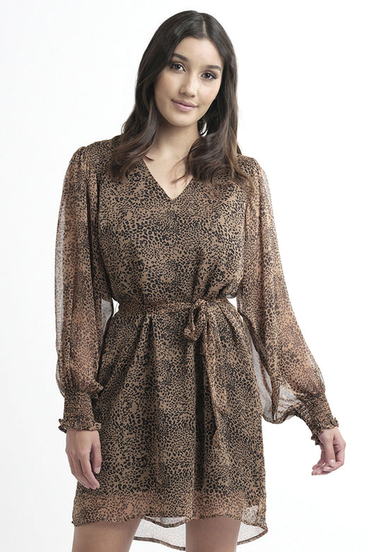 San Diego LS Tan Leopard Shift Dress