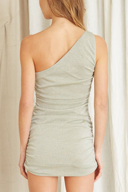 Star Dust One Shoulder Sage Mini Dress