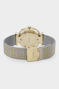 Triomphe Gold Silver Mesh Strap Watch