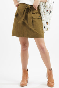 Lara Khaki Utility Mini Skirt