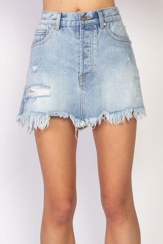 Welcome Distressed Washed Blue Denim Skirt