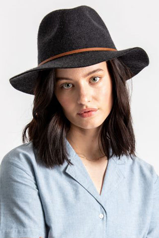 Wesley Fedora Heather Black Hat
