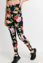 Black Rose Garden Highwaisted Leggings