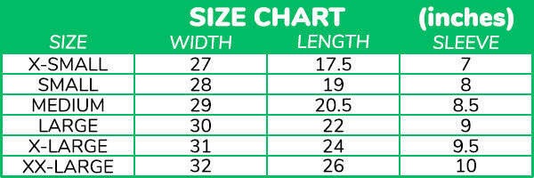 Size Chart (inches)
