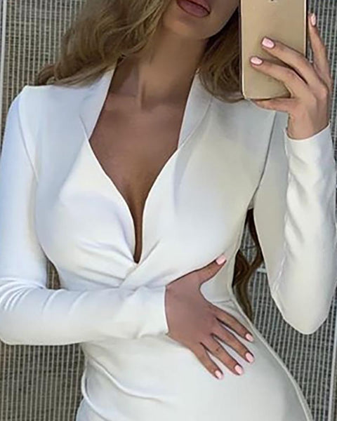 Solid Deep V-Neck Long Sleeve Bodycon Dress