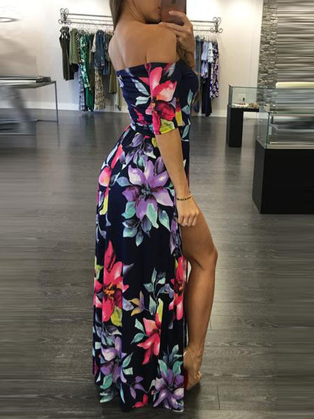 High Slit Off Shoulder Floral Maxi Dress
